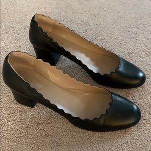 Chloe size 39 leather scalloped heels